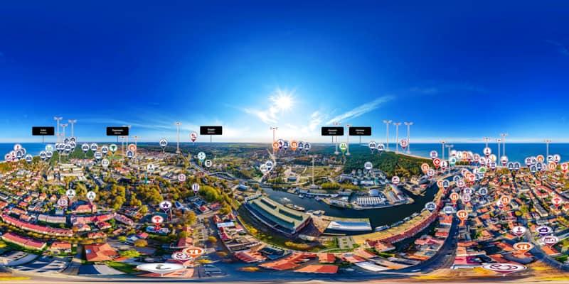 Ustka z drona wirtualny przewodnik - zwiedź Ustkę w innowacyjny sposób